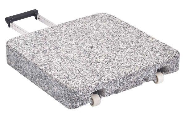 Granitsockel Z GLATZ 40 Kg 45x45x8cm Naturstein mit Rollen und ausziehbarem Handgriff