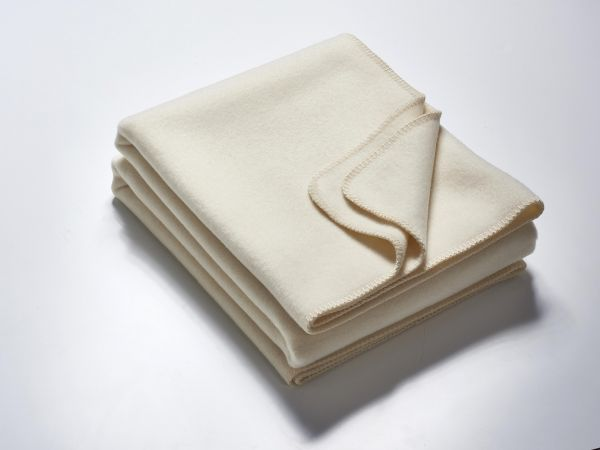 Wolldecke CLAIRE creme-weiß 155x200 cm