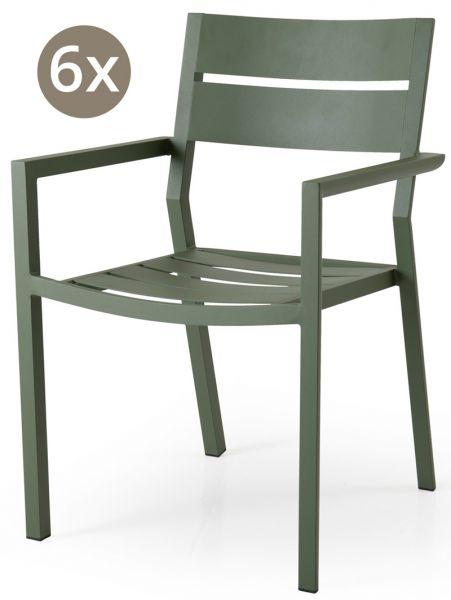 6x Stapelstuhl DELIA Aluminium moos green