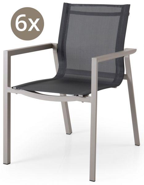 6x Stapelstuhl DELIA Aluminium-Textilbespannung khaki