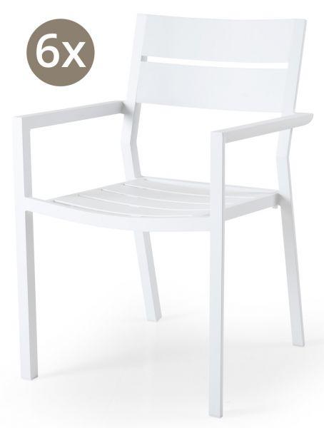 6x Stapelstuhl DELIA Aluminium weiß
