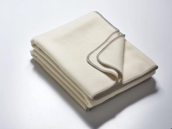 Wolldecke CLAIRE creme-anthrazit 155x200 cm