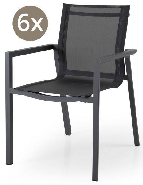 6x Stapelstuhl DELIA Aluminium-Textilbespannung dunkelgrau
