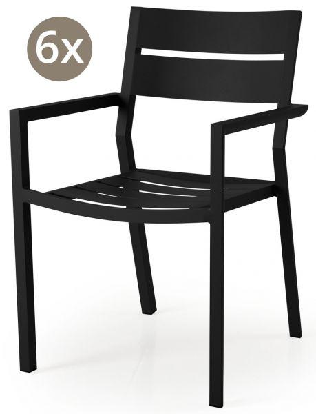 6x Stapelstuhl DELIA Aluminium schwarz