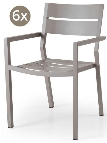 6x Stapelstuhl DELIA Aluminium khaki