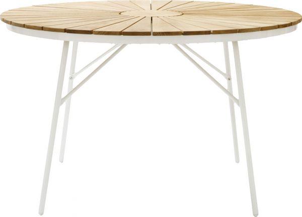 Gartentisch ELLEN Teak-Aluminium weiß Ø110cm