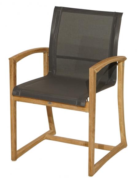 Stuhl FORMENTERA Teak-wetterfeste Textilbespannung